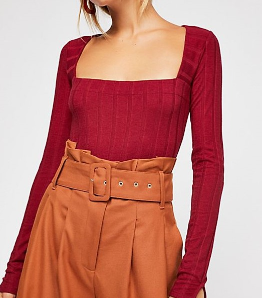 free people bodysuit, ruby bodysuit, red bodysuit
