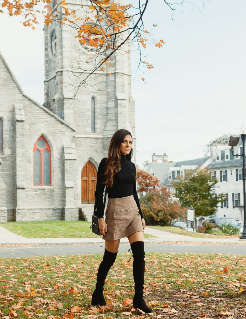 suede skirt, suede mini skirt, blanknyc suede skirt, blanknyc suede mini skirt, black turtleneck, 525america turtleneck, over the knee boots, tieland over the knee boots, mackage purse, fall outfit, fall inspiration, styling a suede skirt, styling over the knee boots, fall outfit inspiration
